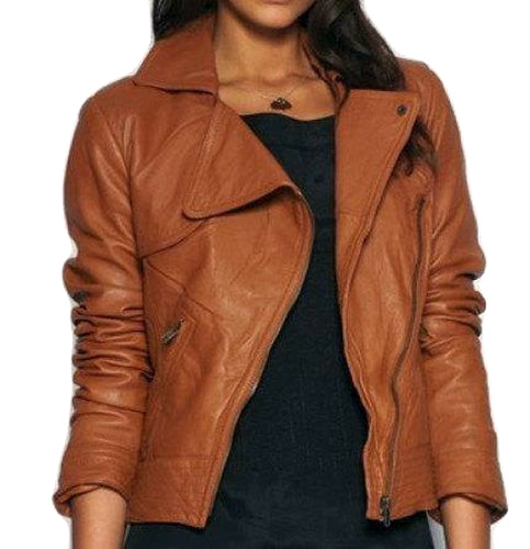 WOMEN TAN BROWN WIDE COLLAR LEATHER JACKET, FASHION LEATHER JACKET WOMENS