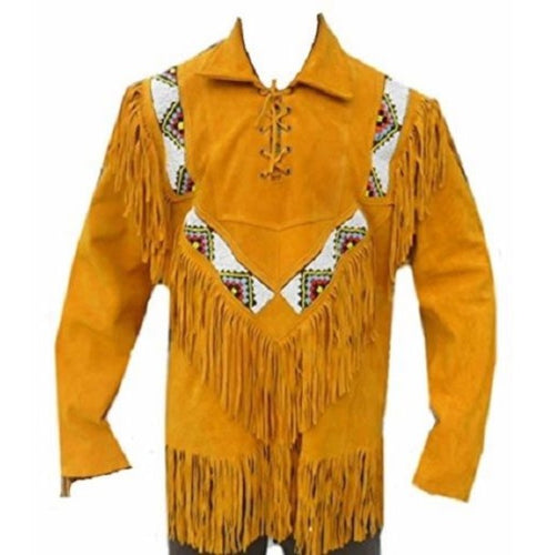 Western Men Cowboy Suede Jacket, Tan Suede Leather Jacket With Fringes - leathersguru