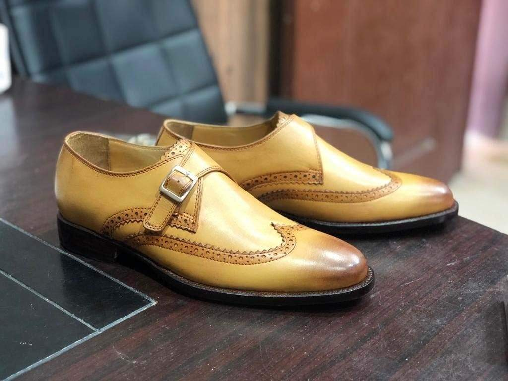 Handmade Tan Color Monk Strap Wing Tip Shoes - leathersguru