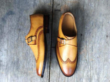 Load image into Gallery viewer, Handmade Tan Color Monk Strap Wing Tip Shoes - leathersguru
