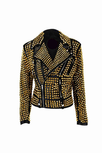 Woman Luxury Black Punk Golden Studded Cowhide Brando Leather Jacket - leathersguru