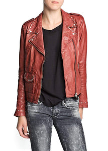 Women Red Genuine Real Leather Jacket Silver Studded Brando Style - leathersguru