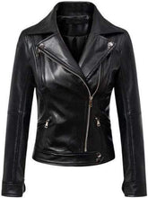 Load image into Gallery viewer, Women's Black Leather Jacket Slim Fit Biker Motorcycle Coat - leathersguru