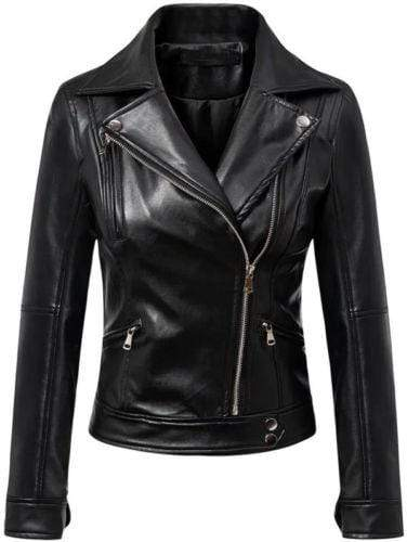 Women's Black Leather Jacket Slim Fit Biker Motorcycle Coat - leathersguru