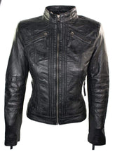 Load image into Gallery viewer, Womens Vintage Style Sheep Leather Slim Fit Biker Retro Black Jacket - leathersguru