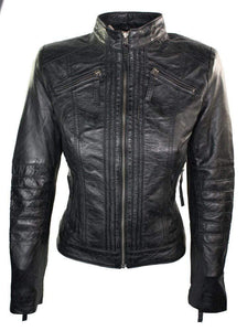 Womens Vintage Style Sheep Leather Slim Fit Biker Retro Black Jacket - leathersguru