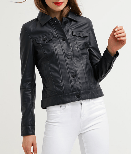 Women's Leather Jacket Black Casual Shirt Lambskin Leather Jacket - leathersguru