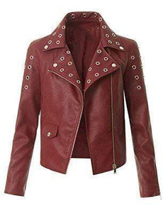 Women's Leather Maroon Zip Up Moto Biker Jacket Pocket Biker Jacket - leathersguru