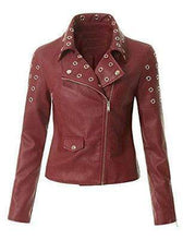 Load image into Gallery viewer, Women's Leather Maroon Zip Up Moto Biker Jacket Pocket Biker Jacket - leathersguru