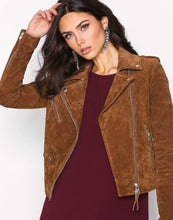 Load image into Gallery viewer, Women's Suede Leather Jacket Brown Biker Motorcycle Pure Suede Jacket - leathersguru