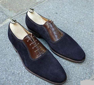 Handmade Men's Suede Navy Blue Derby Shoes - leathersguru
