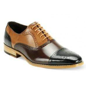 Handmade Men's Leather Tan Brown Black Cap Toe Brogue Shoes - leathersguru