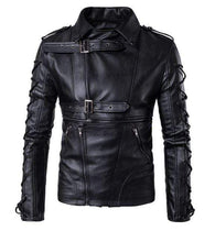 Load image into Gallery viewer, Men's Black Belted Buckle Zip Up Leather Handmade Casual Jacket - leathersguru