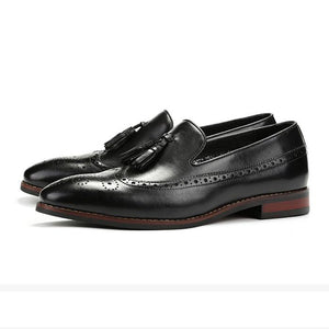 Bespoke Black Leather Tussle Wing Tip Loafer Shoes - leathersguru