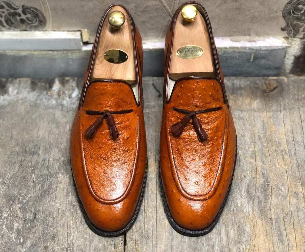 Handmade Ostrich Tan Tussles Leather Loafers For Men's - leathersguru
