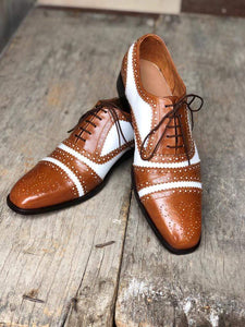 Men's Leather White Brown Cap Toe Lace Up Shoes - leathersguru