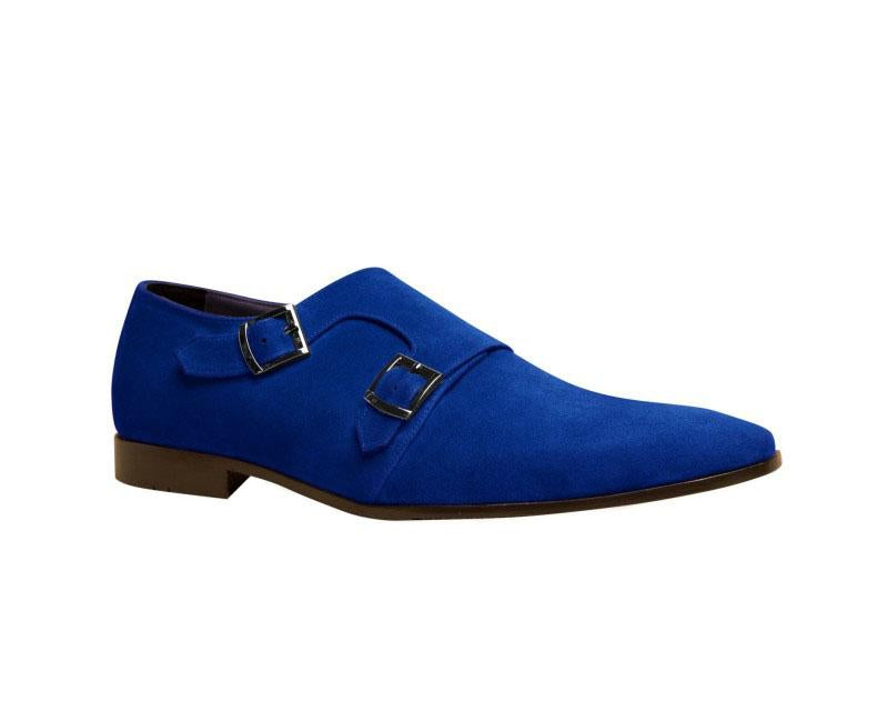 Bespoke Blue Suede Monk Strap Shoe for Men - leathersguru