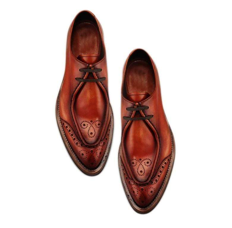 Men's Brown Leather Lace Up Brogue Round Toe Shoes - leathersguru