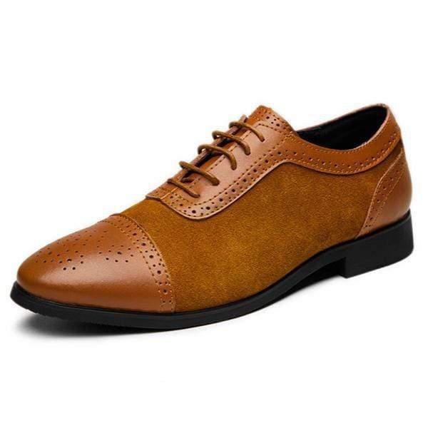 Handmade Tan Leather Suede Cap Toe Brogue Shoes - leathersguru