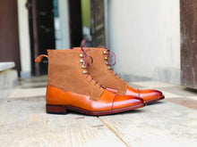 Load image into Gallery viewer, Handmade Brown Leather Suede Cap Toe Lace Up Boot - leathersguru