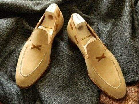 Handmade Tan Suede Loafers Slip On Shoes - leathersguru