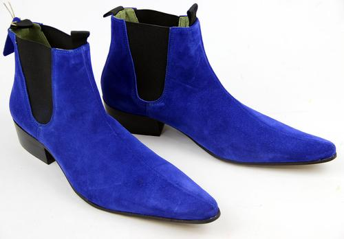 Bespoke Ankle High Blue Chelsea Suede Dress Boot - leathersguru