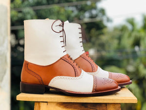 Bespoke White Tan Leather Ankle High Cap Toe Lace Up Boot - leathersguru