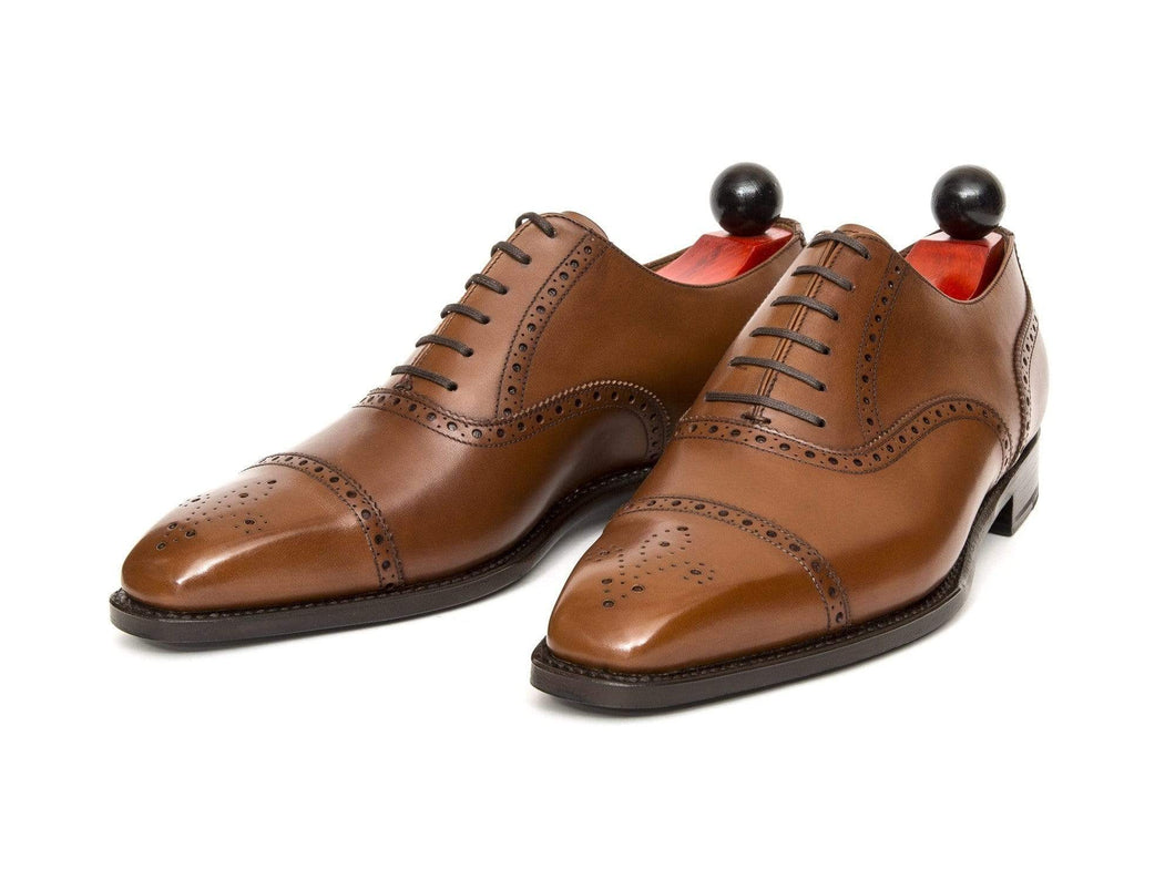 Handmade Brown Leather Cap Toe Brogue Shoe - leathersguru