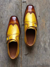 Load image into Gallery viewer, Men's Tan Brown Leather Monk Strap Wing Tip Shoes - leathersguru