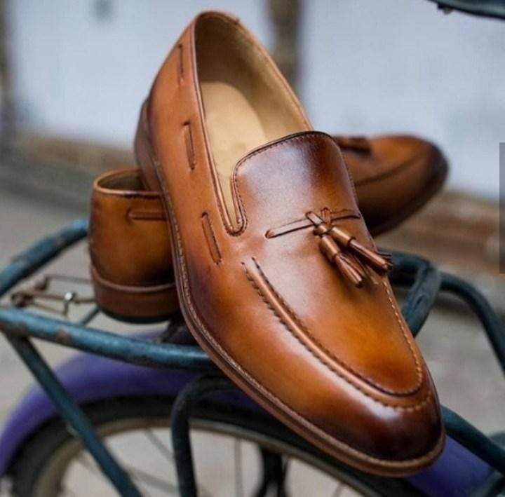 Handmade Men's Leather Loafers Tussles Shoes - leathersguru