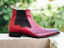 Load image into Gallery viewer, Handmade Men's Ankle High Leather Burgundy Chelsea Boot - leathersguru