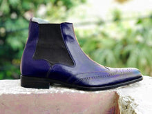 Load image into Gallery viewer, Handmade Men's Ankle High Leather Purple Wing Tip Chelsea Boot - leathersguru