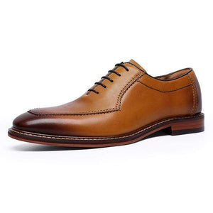 Handmade Men's Leather Tan Brown Square Toe Lace Up Shoes - leathersguru