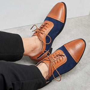 Men's Brown Navy Blue Leather Suede Cap Toe Shoes - leathersguru