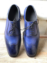 Load image into Gallery viewer, Handmade Men's Leather Blue Wing Tip Shoes - leathersguru
