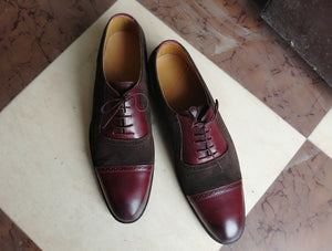 Bespoke Burgundy Brown Leather Suede Lace Up Shoes - leathersguru