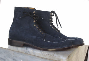 Bespoke Black Suede Ankle Lace Up Boots - leathersguru
