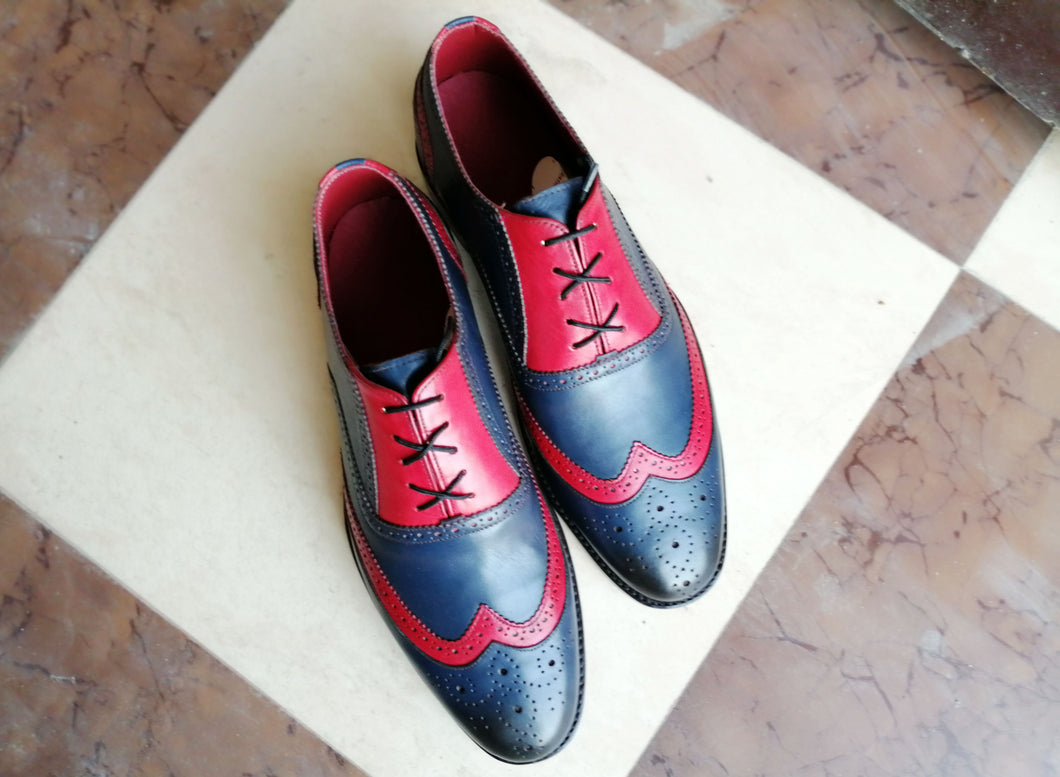 Bespoke Navy Blue Red Leather Wing Tip Shoes for Men's - leathersguru