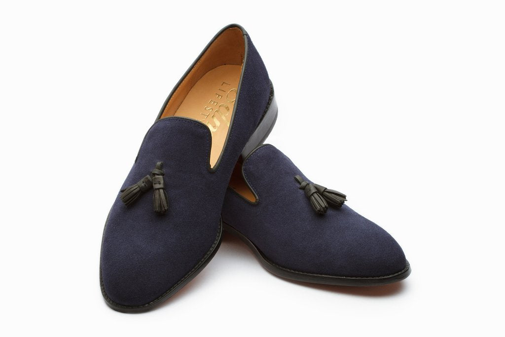 Bespoke Navy Blue Suede Tussle Loafer Shoes - leathersguru