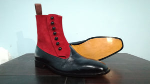 Handmade Black & Red Ankle Button Top Boot For Men's - leathersguru