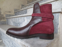 Load image into Gallery viewer, Handmade Brown Burgundy Jodhpurs Leather Suede Boot For Men's - leathersguru
