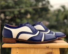 Load image into Gallery viewer, Bespoke Blue & White Leather Cap Toe,Lace Up Shoe for Men - leathersguru