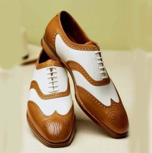 Handmade White Brown Leather Shoes - leathersguru