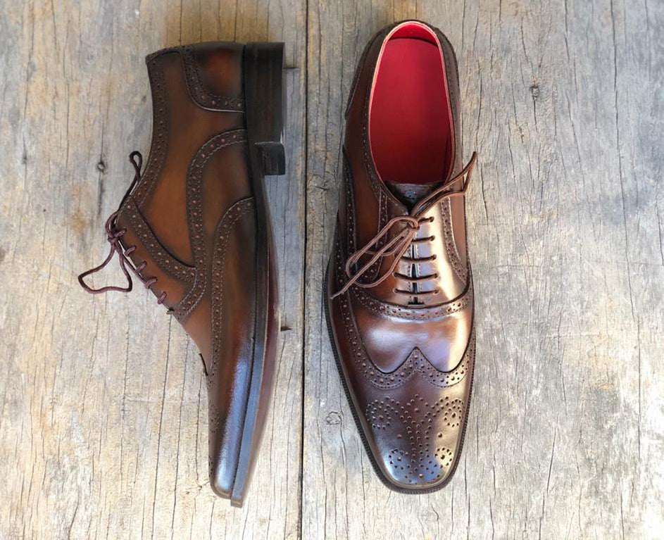 Bespoke Brown Leather Wing Tip Lace Up Shoe for Men - leathersguru