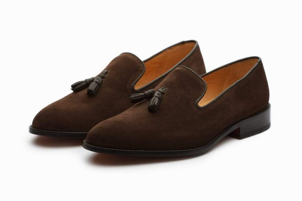 Handmade Brown Suede Tussles Loafers For Men's - leathersguru