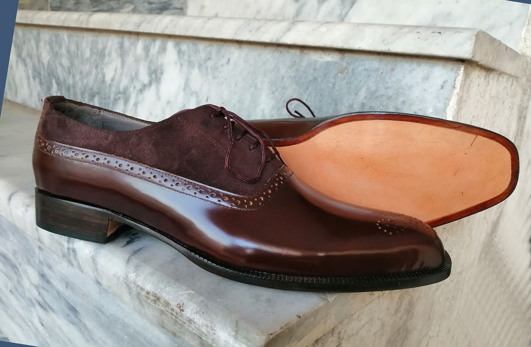 Bespoke Brown Leather Suede Lace Up Shoe for Men - leathersguru