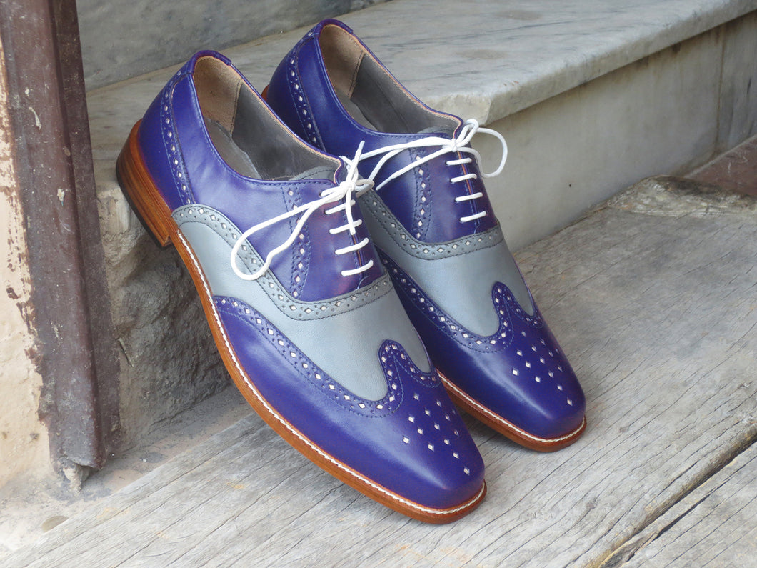 Bespoke Blue & Gray Leather Wing Tip Lace Up Shoe for Men - leathersguru