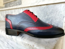 Load image into Gallery viewer, Bespoke Navy Blue Red Leather Wing Tip Shoes for Men's - leathersguru
