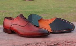 Handmade Men's Leather Maroon Derby Brogue Shoes - leathersguru