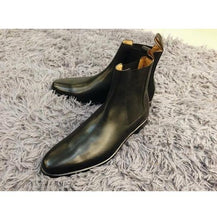 Load image into Gallery viewer, Bespoke Black Leather Chelsea Boots for Men's - leathersguru